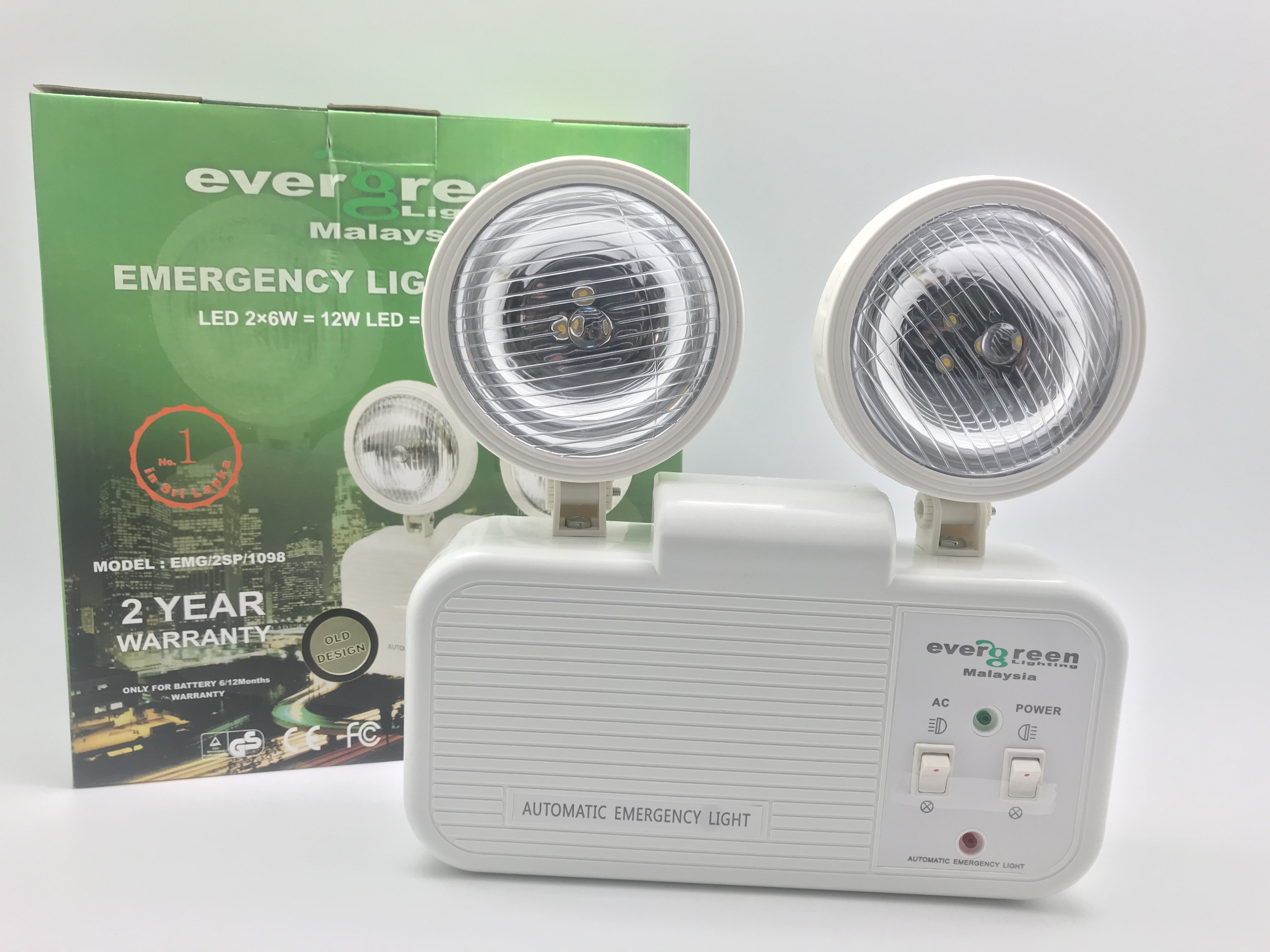Emergency Lights Archives Evergreen Lighting Malaysia Archive Automatic Led Light Two Spot 2x6w Ww Iron Body Old Design